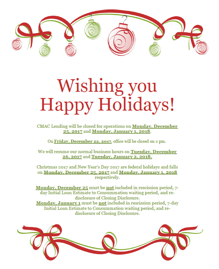 holiday schedule holidays 2017 cmac lending